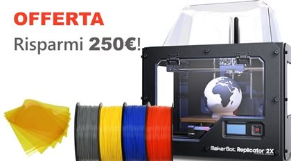 Immagine di PROMO | Makerbot Replicator 2X Experimental 3D Printer (with cover) - Art. MP04952